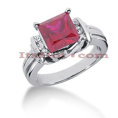 Ruby Engagement Rings: Gemstone Diamond Ring 14K 0.18ctd 2.25ctr Main Image