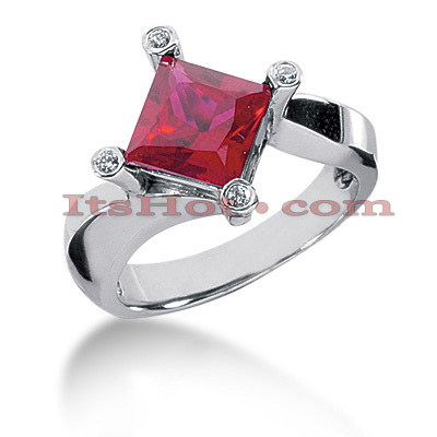 Ruby Engagement Rings: Ladies Diamond Ring 14K 0.06ctd 2.50ctr Main Image