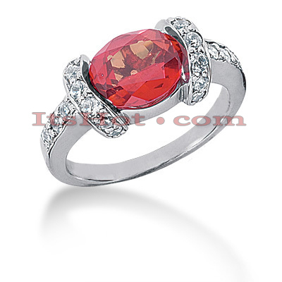 Ruby Engagement Rings: Ladies Diamond Ring 14K 0.60ctd 3ctr