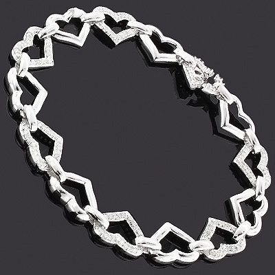 Silver Diamond Heart Bracelet 0.85ct Main Image