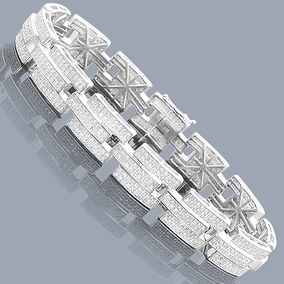 Silver Jewelry: Affordable Mens Diamond Bracelet 3.58 ct Main Image