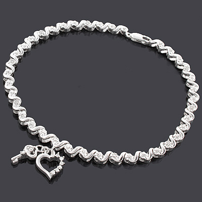 Silver Key Heart Charm Bracelet with Diamonds 0.15ct Main Image