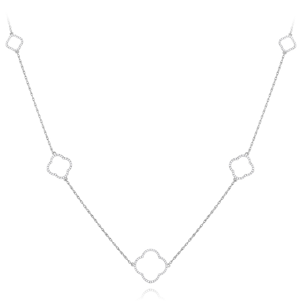 Silver Stylish Alhambra Necklace for Women 0.3ct Main Image
