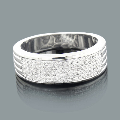 Silver Wedding Bands: Mens Diamond Ring 0.23ct Main Image