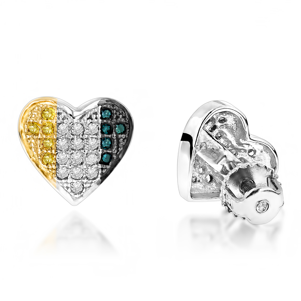 Silver White Blue Yellow Diamond Heart Earrings .35ct