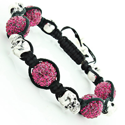 Skull Bead Berry Color Disco Ball Bracelet with Crystals Main Image