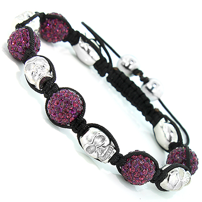 Skull Bead Purple Disco Ball Bracelet with Crystals