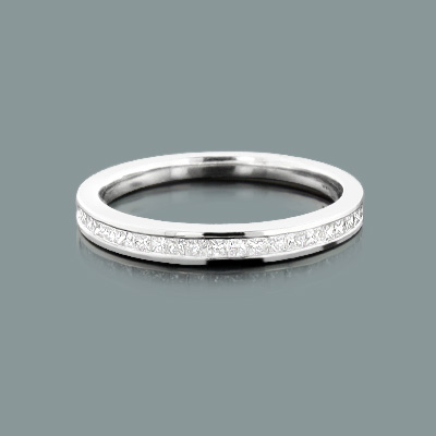 Ultra Thin Slim Princess Cut Diamond Wedding Band 0 33ct