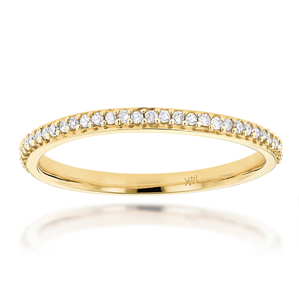Ultra Thin Slim Stackable Diamond Ring 0.18ct 14K Gold Yellow Image
