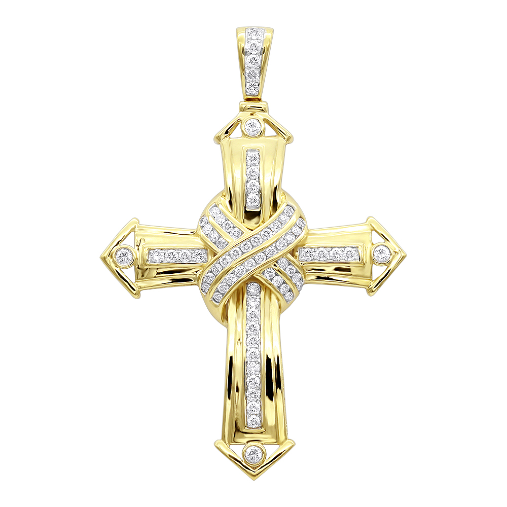 Solid 10k Gold Real Diamond Cross Pendant for Men by Luxurman 1.5ct Yellow Image