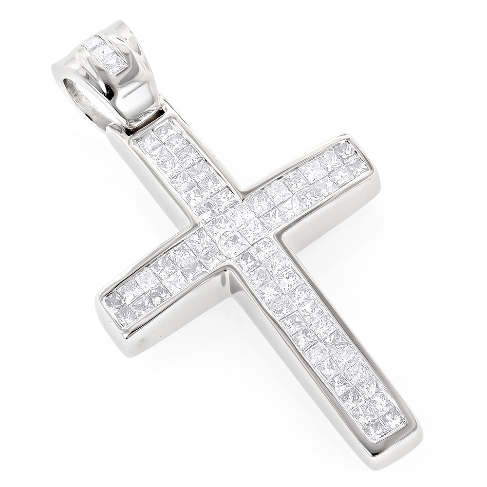 Small 14K Gold Invisible Princess Cut Diamond Cross Pendant 1.25ct White Image