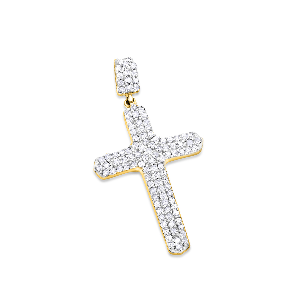 Small 14K Gold Diamond Cross Pendant Necklace 0.40ct Yellow Image