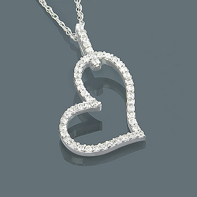 Small 10K Gold Diamond Heart Pendant 0.20ct