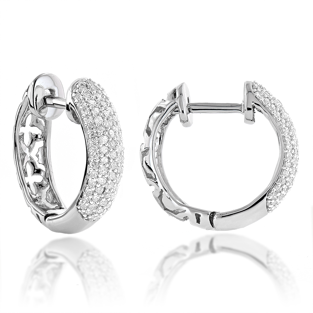 Small 14K Gold Diamond Huggie Hoop Earrings 0.61ct White Image