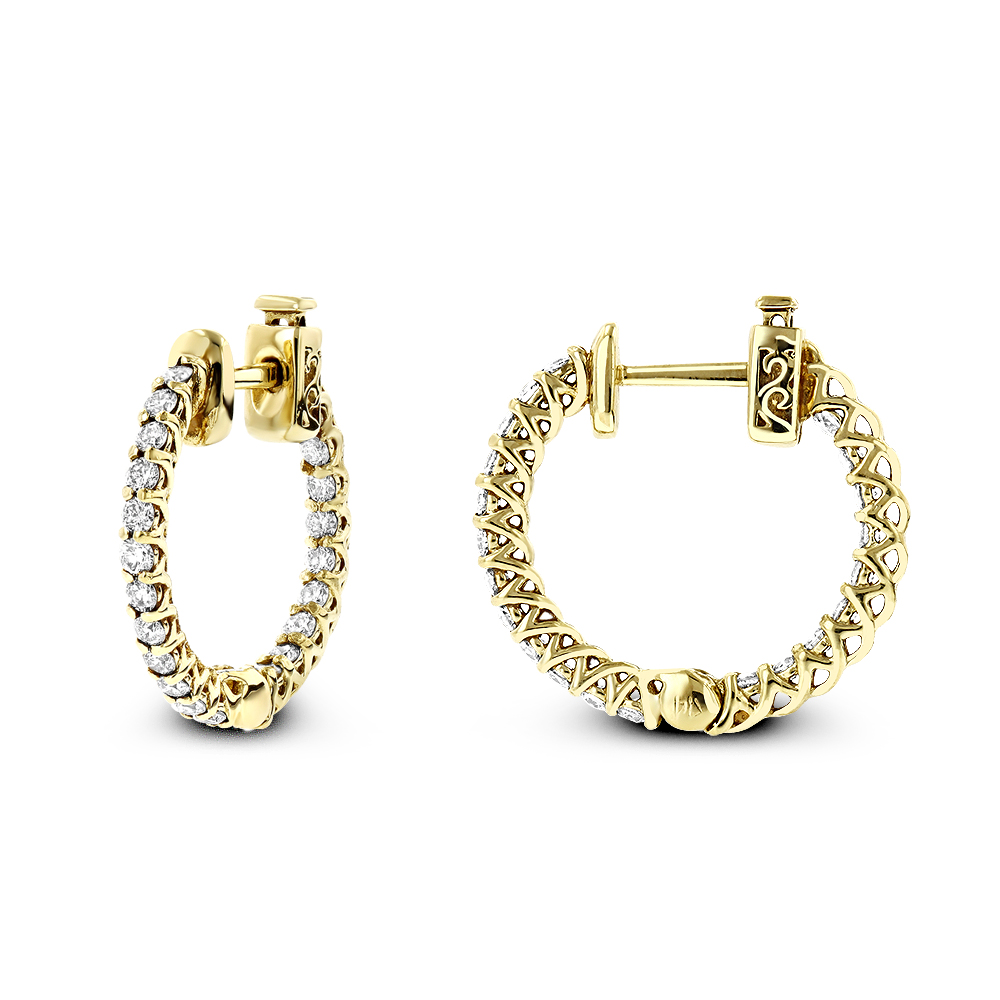Small 14K Gold Inside Out Diamond Hoop Earrings 0.9ct Yellow Image