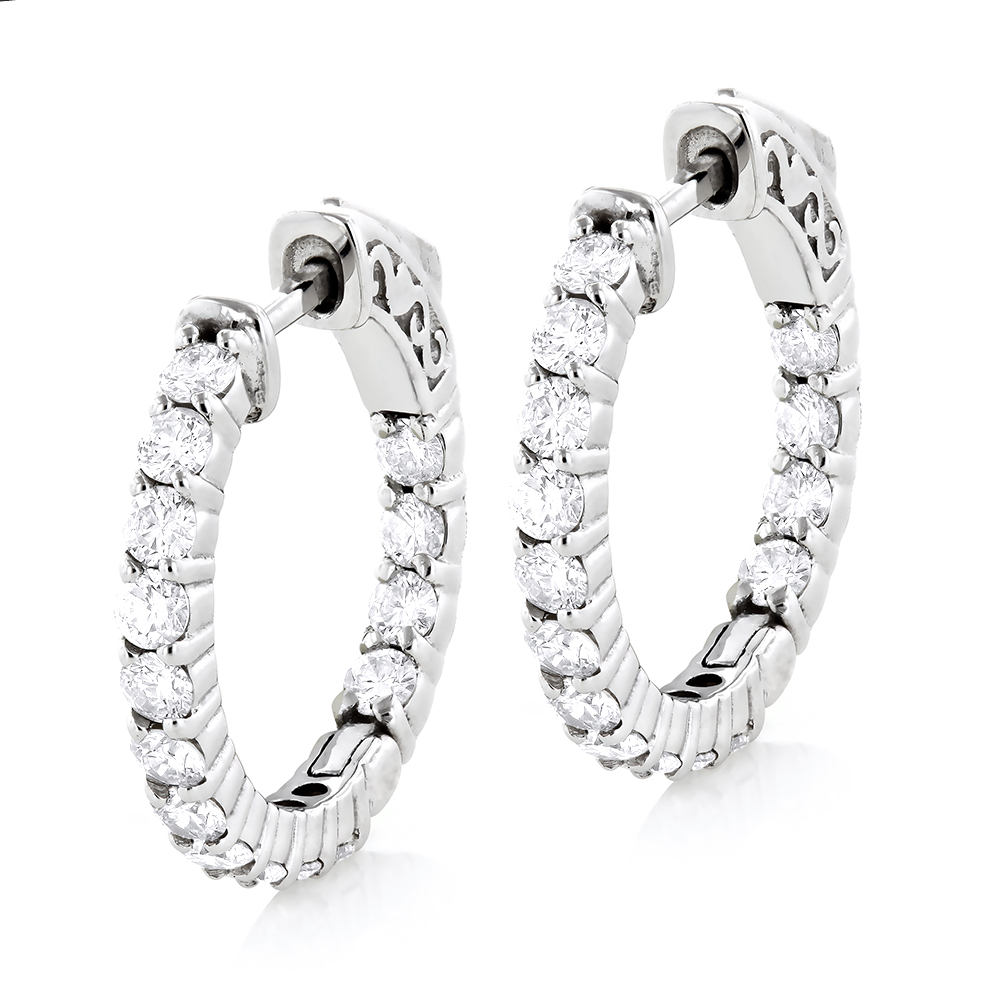 Small 14K Gold Inside Out Diamond Hoop Earrings 1.79ct White Image