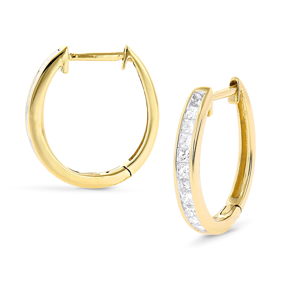 Small 14K Gold Princess Cut Diamond Hoop Earrings 0.6ct Luxurman Huggies Yellow Image
