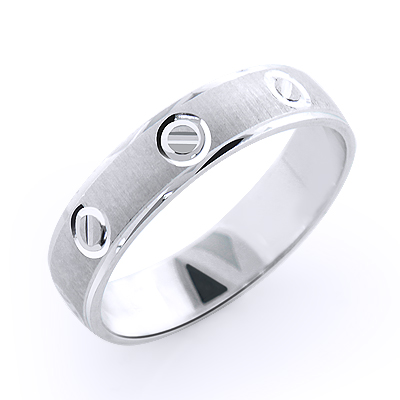 Small Circles Wedding Band for Men 14K Gold