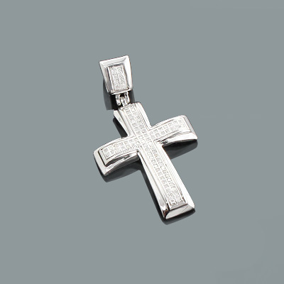 Small Diamond Cross Pendant in Sterling Silver 0.17ct