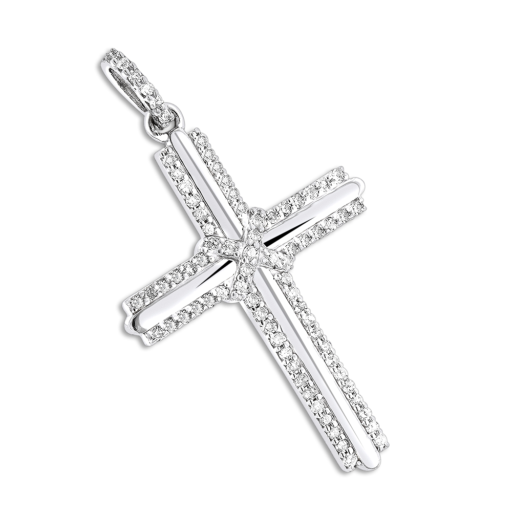 Small Diamond Crosses 14K Gold Designer Cross Pendant 0.30ct