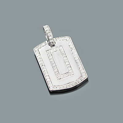 Small Diamond Dog Tag Pendant in Sterling Silver 0.66ct