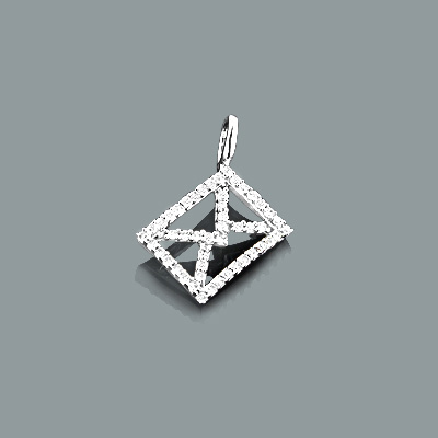 Small Diamond Envelope Pendant in 10K Gold 0.18ct Charm Main Image