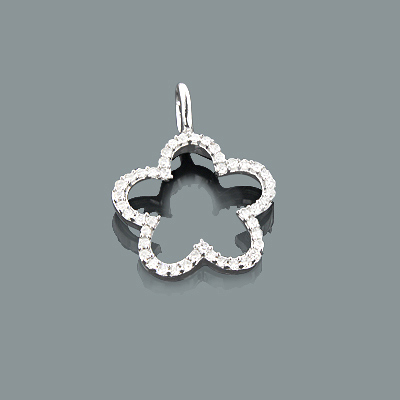Small Diamond Flower Pendant 0.17ct 10K Gold Charm Main Image