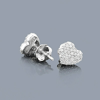 Small Diamond Heart Earrings Studs 0.24ct 14K Gold Main Image