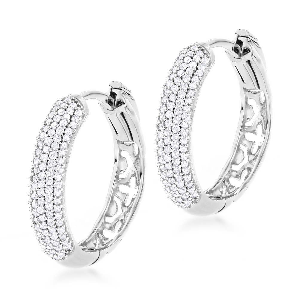 Small Diamond Hoop Earrings 0.5ct 14K Gold White Image