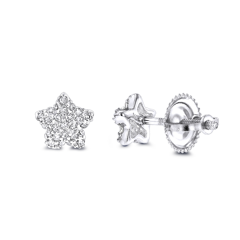 Small Diamond Star Earrings Studs 0.11ct 14K Gold White Image