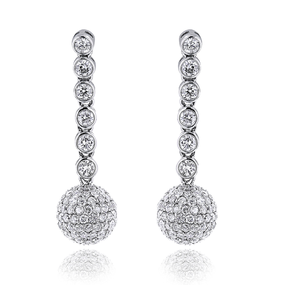 Small Golden Globes Diamond Dangle Earrings 2.50ct Main Image