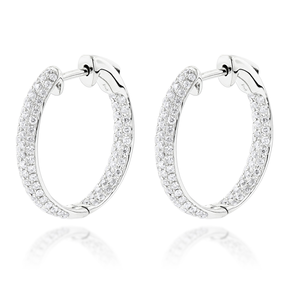 Small Inside Out Diamond Hoop Earrings 1.16ct 14K Gold White Image