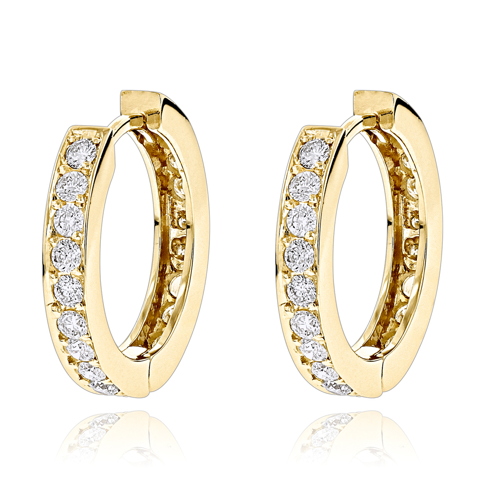 Small Hoop Earrings: 14K Gold Inside Out Diamond Huggie Earrings 1.2ct Yellow Image