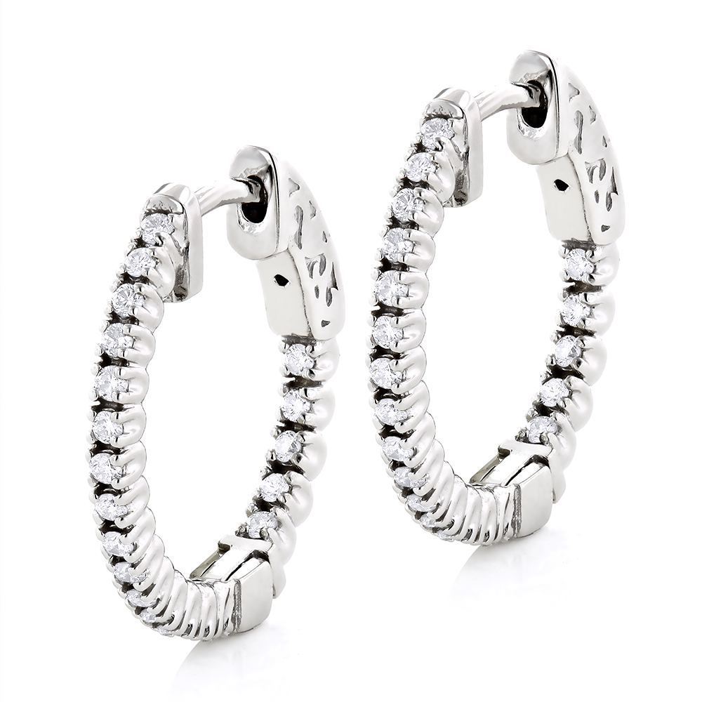 Small Hoops 14K Gold Diamond Hoop Earrings Inside Out 1/2ct White Image