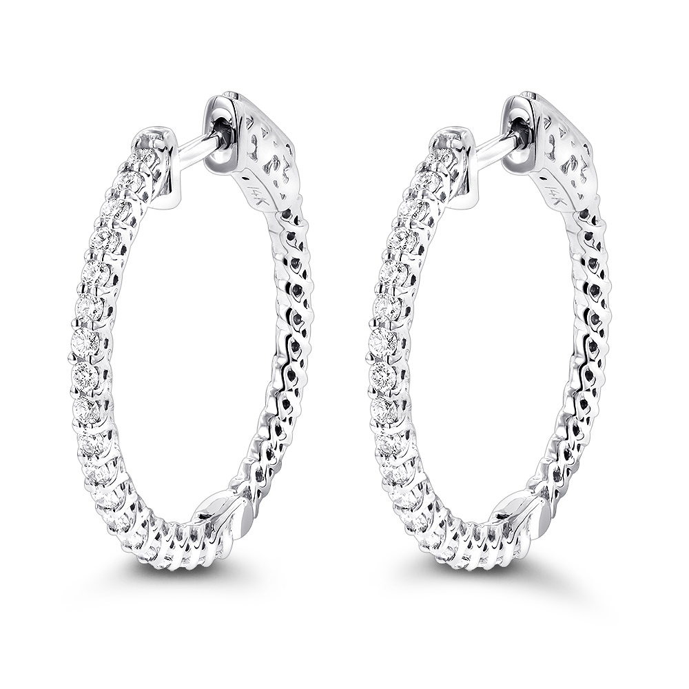 Small Hoops 14K Gold Diamond Hoop Earrings Inside Out 0.74ct White Image