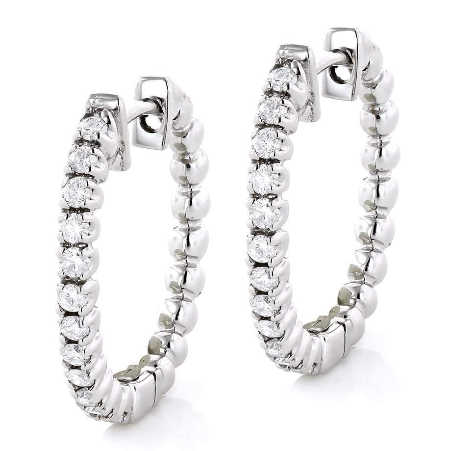 Small Hoops 14K Gold Round Diamond Hoop Earrings 0.53 White Image