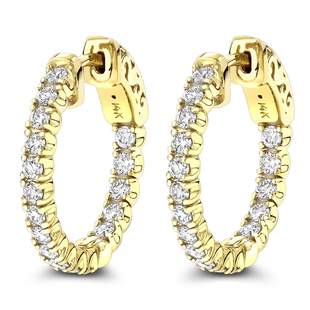 Small Hoops 14K Inside Out Diamond Hoop Earrings 1.06 Yellow Image