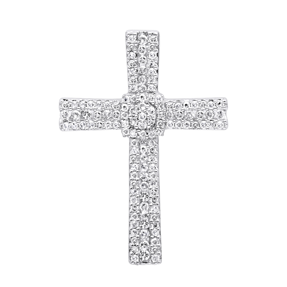 Small Iced Out Diamond Cross Pendant for Women & Men 14k Gold 0.4ct Yellow Image