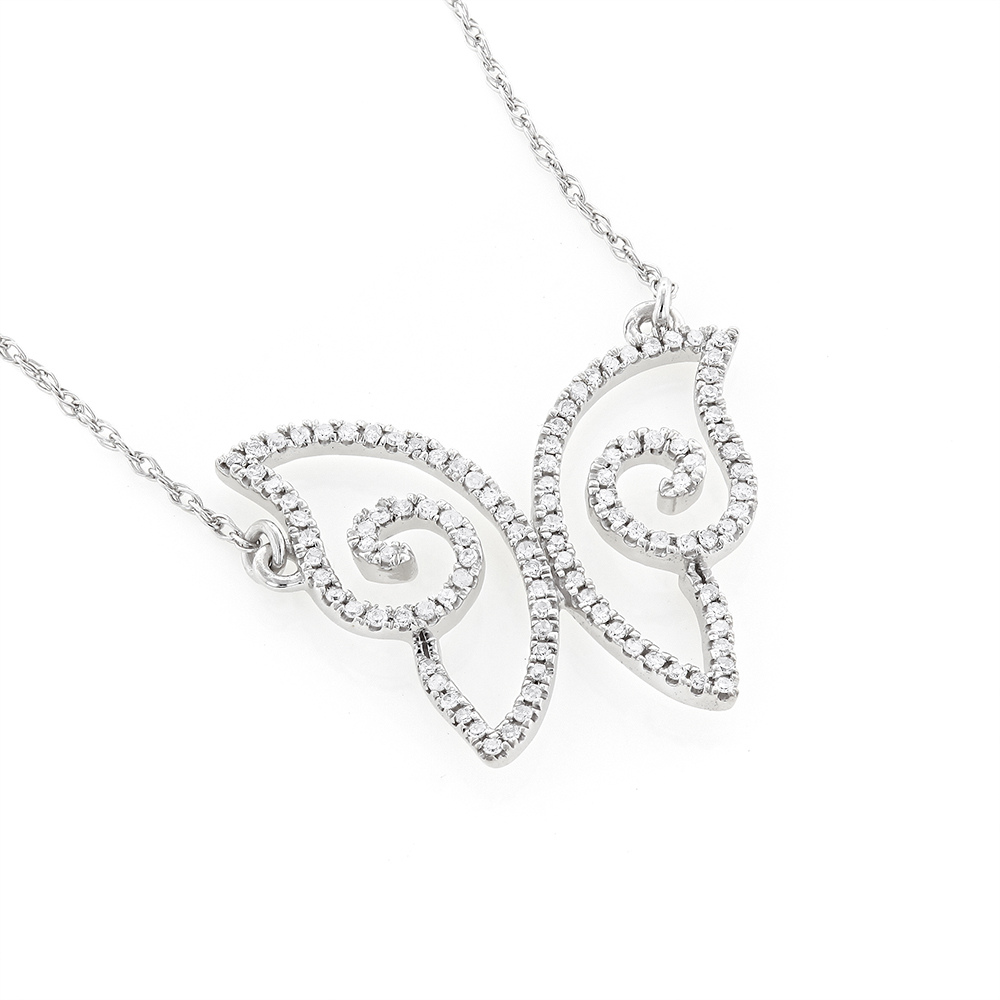 Small Ladies Diamond Pendants: 14K Gold Butterfly Necklace 0.18ct White Image