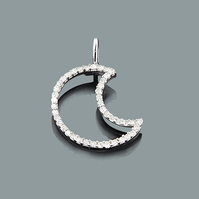 Small Moon Pendant with Diamonds 0.16ct 10K Gold Charm Main Image