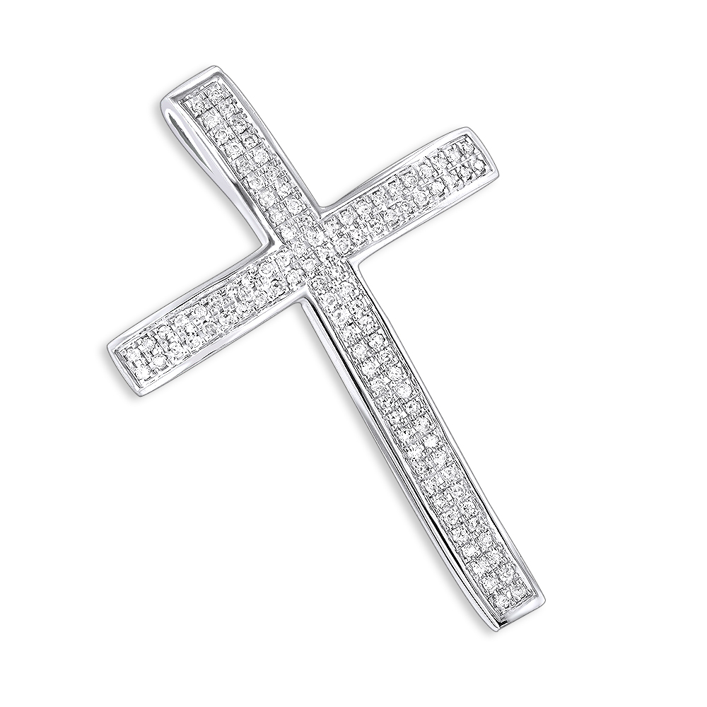 Small Pave Diamond Cross Pendant 0.33ct 14K Gold White Image