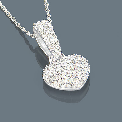 Small Pave Diamond Heart Necklace 14K Gold 0.35ct