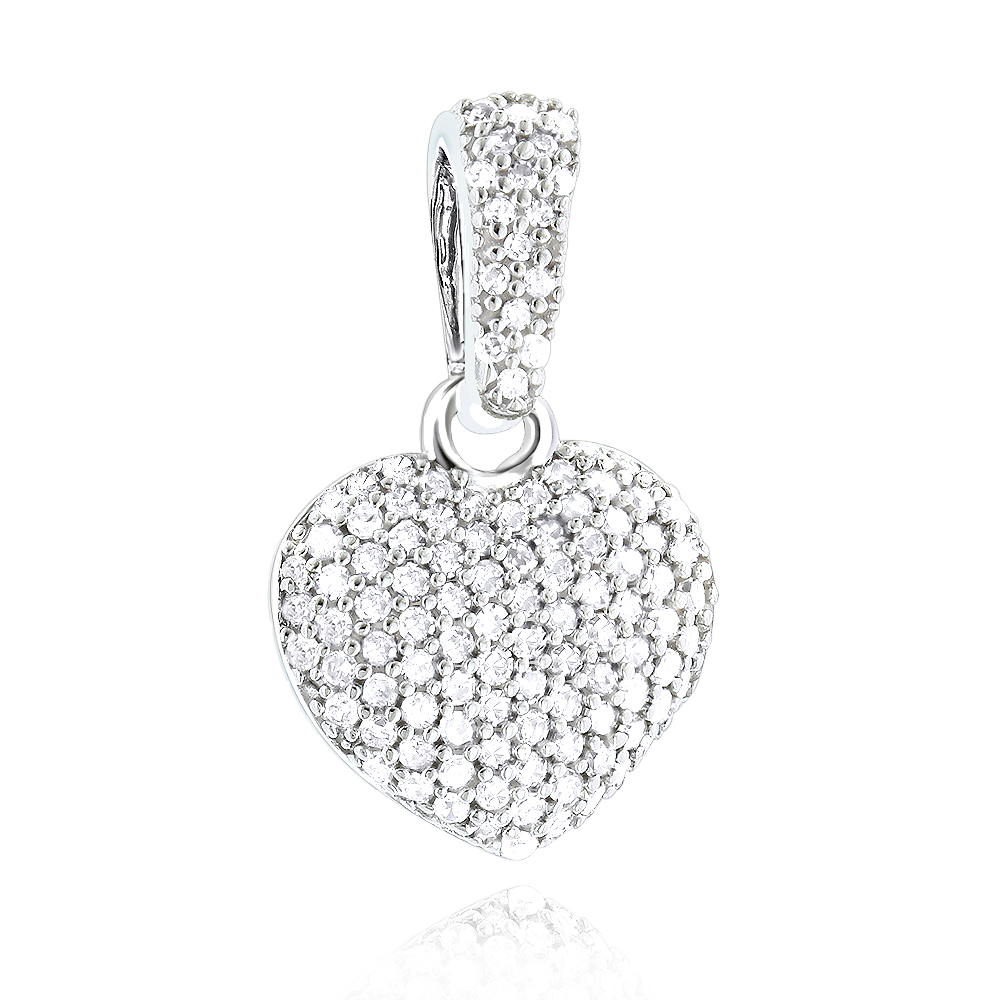 Small Pave Diamond Heart Pendant 14K Gold 0.33ct White Image