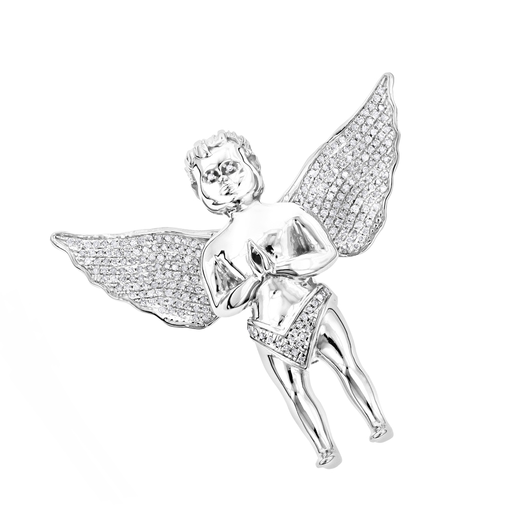 Small Praying Diamond Angel Pendant in 10K White Yellow or Rose Gold 0.6ct White Image