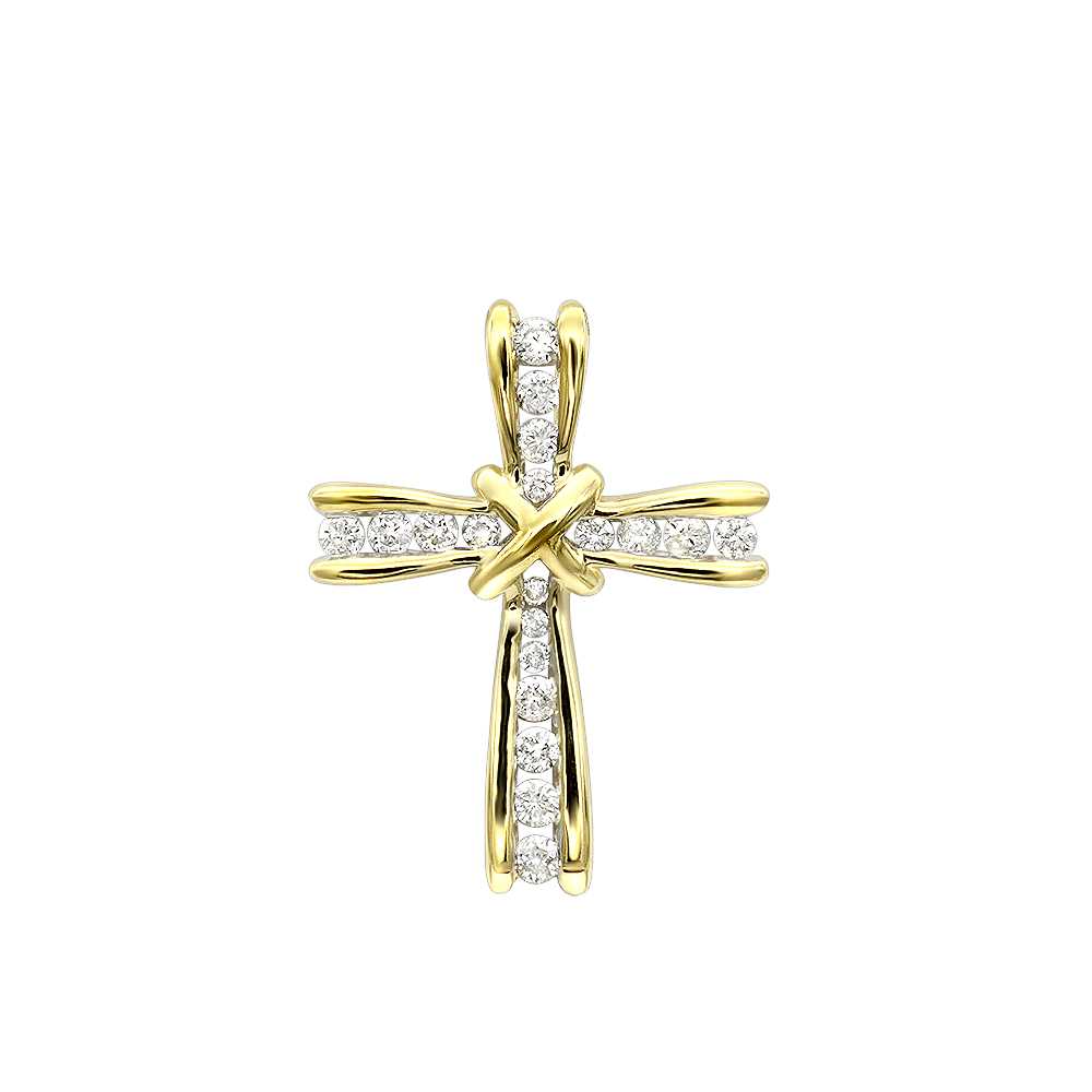 Small Womens Diamond Cross Pendant in Solid 14k Gold Yellow Image