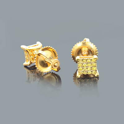 Small Yellow Diamond Stud Earrings 0.20ct Sterling Silver Main Image