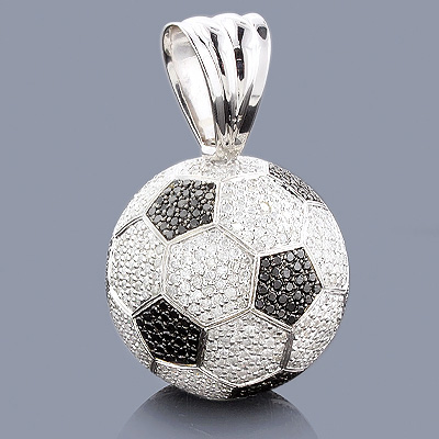 Soccer Jewelry: 18K Gold Diamond Soccer Ball Necklace Main Image