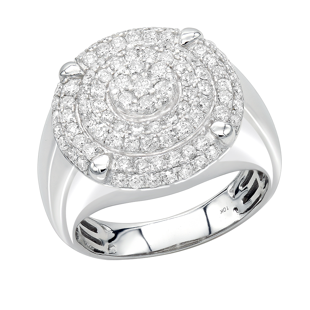Solid 10K Gold 2 Carat Diamond Ring for Men by Luxurman Pinky Rings White Image