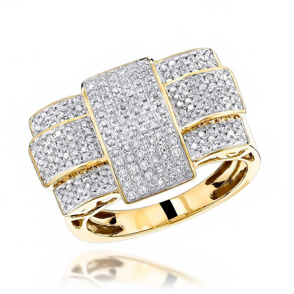 Solid 10K Gold Criss Cross Mens Diamond Ring 1 Carat Yellow Image