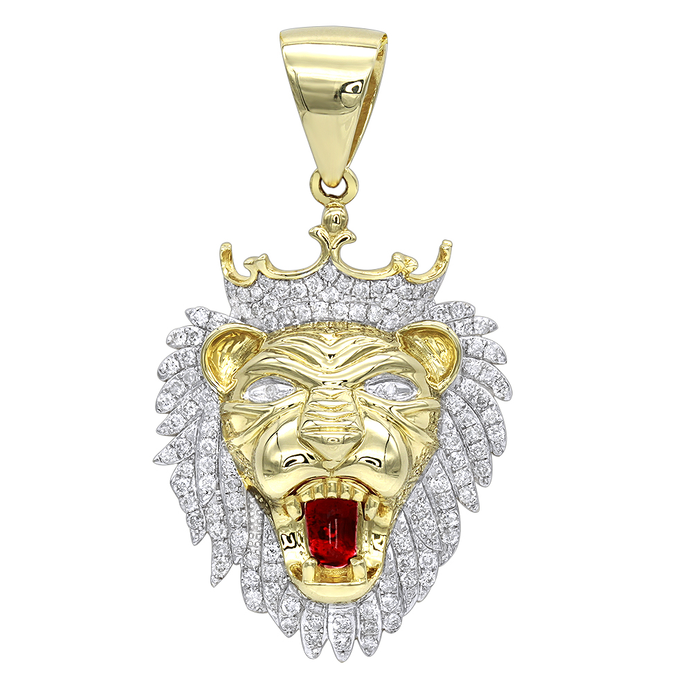 Solid 10K Gold Diamond King Lion Head Pendant for Men 1.2ct Luxurman Charm Yellow Image